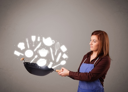 Pretty young lady with kitchen accessories icons Stock Photo - 17740218