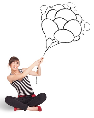 Happy young woman dolding balloons drawing photo