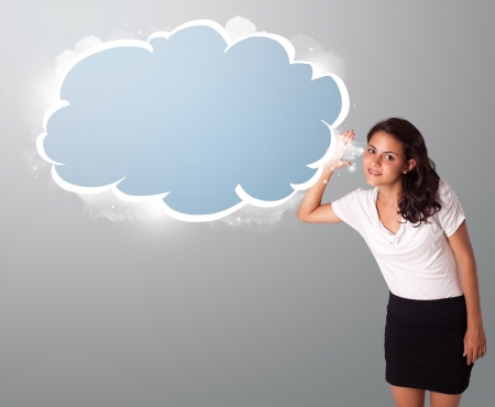 beautiful young woman gesturing with abstract cloud copy space
