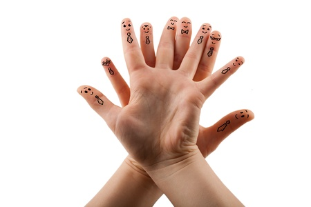 Happy group of finger smileys .Isolated on a white background photo