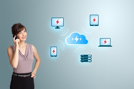 Beautiful young woman making phone call, with cloud computing network Stock Photo - 17784578