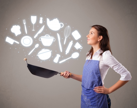 kitchen illustration: Pretty young lady with kitchen accessories icons