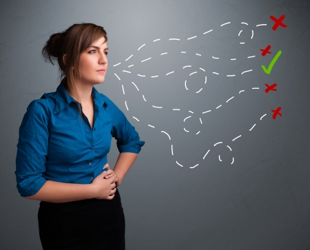 Beautiful young woman choosing between right and wrong signs Stock Photo - 18489559