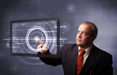 Businessman standing and touching high technology cloud service Stock Photo - 18489289