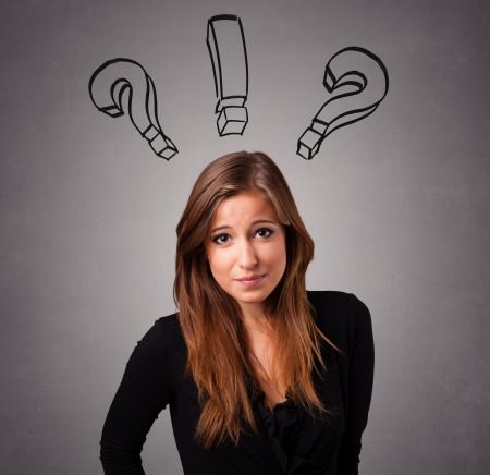 query: Beautiful young lady thinking with question marks overhead Stock Photo