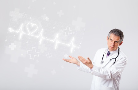 Proffesional doctor examinates heartbeat with abstract heart Stock Photo - 18529868