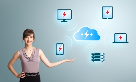Beautiful young woman presenting cloud computing network photo