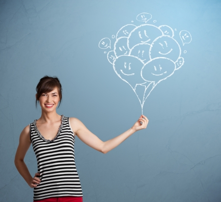 smiley: Happy young woman holding smiling balloons drawing