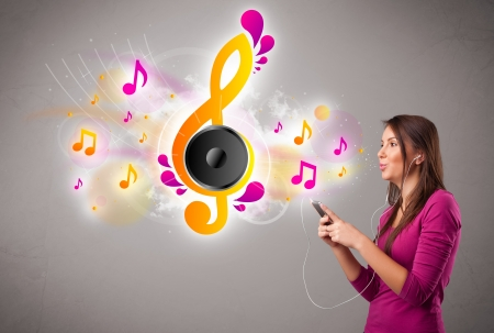 pretty girl singing and listening to music with musical notes getting out of her mouth Stock Photo