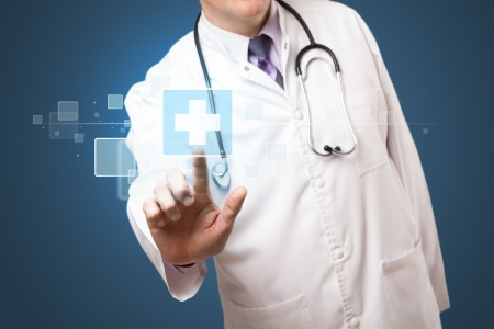 touch screen interface: Middle aged doctor pressing modern medical type of button