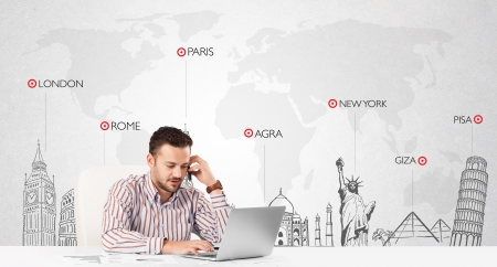 Handsome young businessman with world map and major landmarks of the world photo