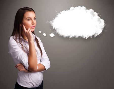 thought bubble: Pretty young lady thinking about cloud speech or thought bubble with copy space