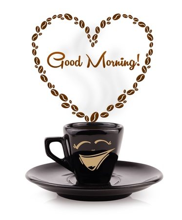 morning coffee: Coffee mug with coffee beans shaped heart with good morning sign, isolated on white Stock Photo