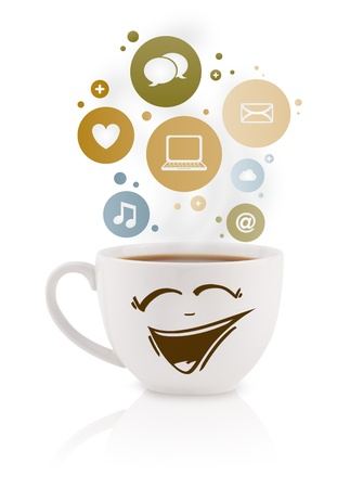 Coffee cup with social and media icons in colorful bubbles, isolated on white photo