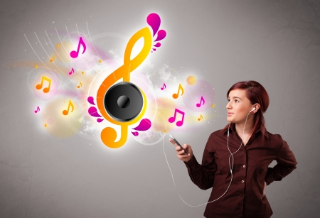 pretty girl singing and listening to music with musical notes getting out of her mouth Stock Photo - 19294309