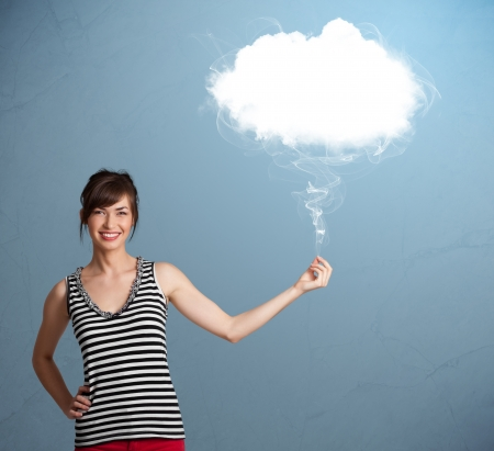 Beautiful young woman holding cloud Stock Photo - 19294308