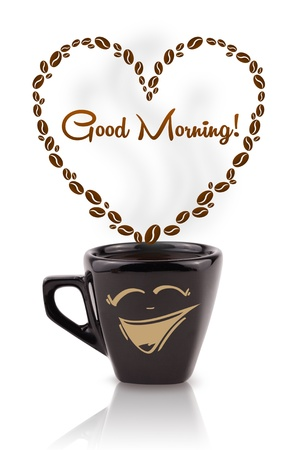 morning tea: Coffee mug with coffee beans shaped heart with good morning sign, isolated on white Stock Photo