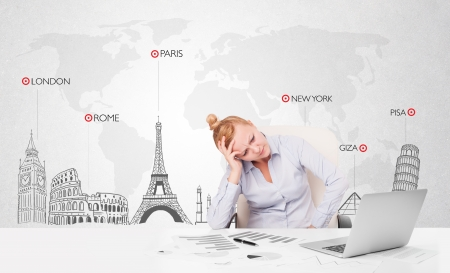 Beautiful young businesswoman with world map and major landmarks of the world photo
