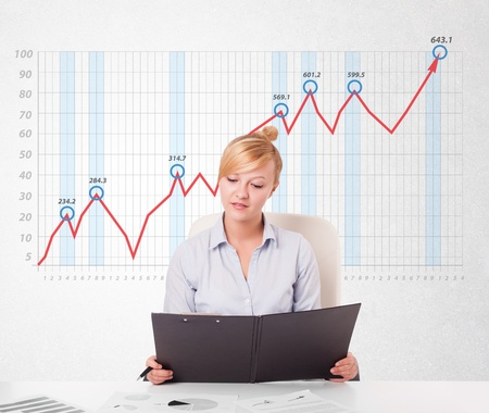 Beautiful young businesswoman calculating stock market with rising graph in the background photo