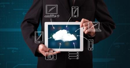 Young businessman showing hand drawn cloud computing photo