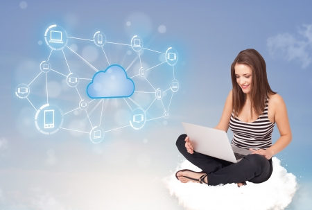cloud sky: Happy young woman sitting on cloud with cloud computing