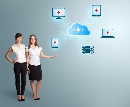 Beautiful young women presenting cloud computing network Stock Photo - 19539637