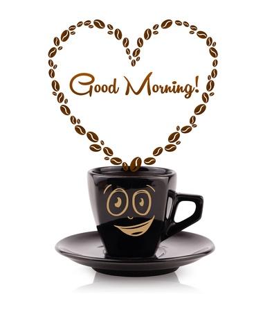 아침: 원두 커피와 커피 잔, 화이트에 격리 좋은 아침 기호 심장 모양의 스톡 사진