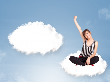 Pretty young girl sitting on cloud and thinking of abstract speech bubble with copy space Stock Photo - 19664404