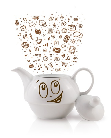 Coffe can with hand drawn media icons, isolated on white Stock Photo - 19664443