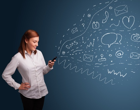 Young girl typing on smartphone with various modern technology icons and symbols Stock Photo - 19789475