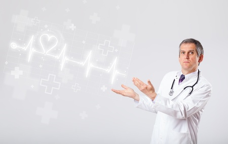 Proffesional doctor examinates heartbeat with abstract heart photo