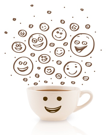 coffeecup: Coffee-cup with brown hand drawn happy smiley faces, isolated on white