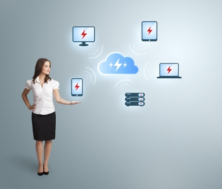 Beautiful young woman presenting cloud computing network Stock Photo - 20524261