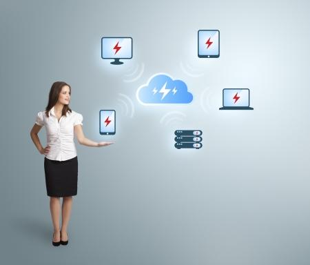 Beautiful young woman presenting cloud computing network Stock Photo - 20524261