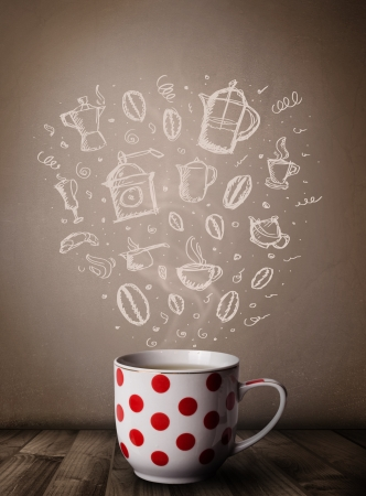 Coffee mug with hand drawn kitchen accessories, close up photo