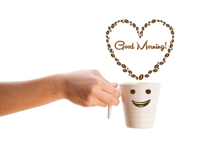 good morning: Coffee mug with coffee beans shaped heart with good morning sign, isolated on white Stock Photo