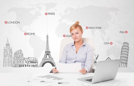 Beautiful young businesswoman with world map and major landmarks of the world 版權商用圖片