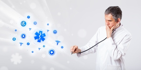 proffesional: Middle aged doctor with blue medical icons Stock Photo