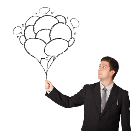 Happy young man holding balloons drawing photo