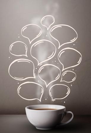 Coffee mug with hand drawn speech bubbles, close up Stock Photo - 20661006