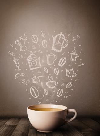 Kaffeebecher mit Hand gezeichneten Zubeh?r f?r die K?che, in der N?he