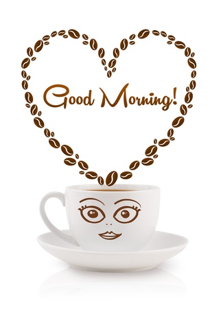 morning: Coffee mug with coffee beans shaped heart with good morning sign, isolated on white Stock Photo
