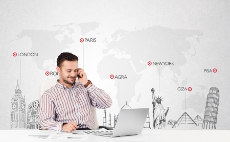 travel agent: Handsome young businessman with world map and major landmarks of the world