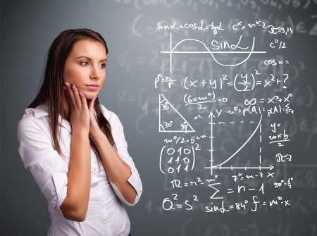 trigonometry: Beautiful young school girl thinking about complex mathematical signs Stock Photo