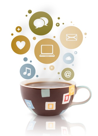caffeine: Coffee cup with social and media icons in colorful bubbles, isolated on white