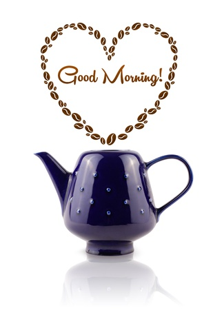 Coffee pot with coffee beans shaped heart with good morning sign, isolated on white photo