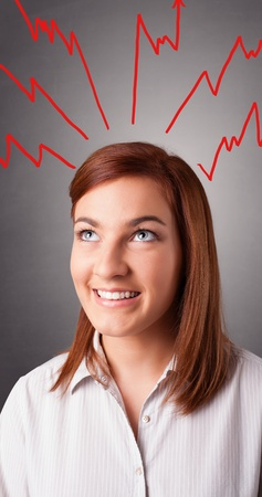 Young woman standing and thinking with arrows overhead Stock Photo - 21150428