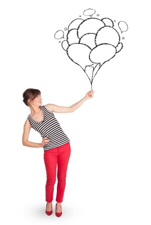 Happy young woman dolding balloons drawing Stock Photo - 21150708
