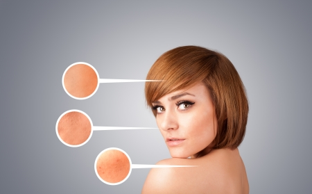 Beautiful young girl with facial care arrow signs of damaged skin on gradient background Stock Photo - 21422598