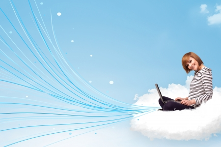cloud network: Pretty young woman sitting in cloud with laptop, lines concept